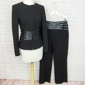 Escada Zip Up Collarless Blazer Pants Set Black